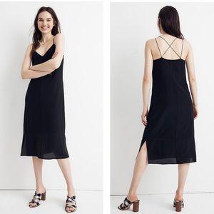 Madewell Silk Cami Strappy Slip Dress in Black